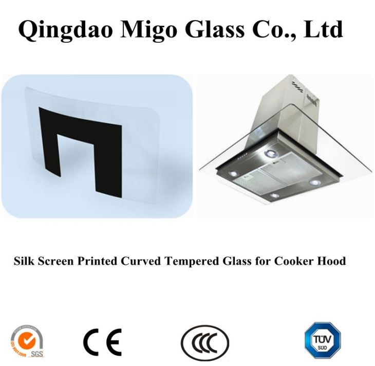 Silk Screen Printing Tempered Curved Glass for Cooker Hoods